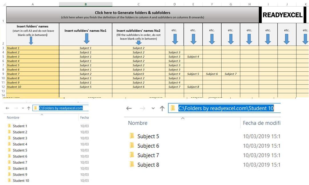 Folders & Subfolders Generator template