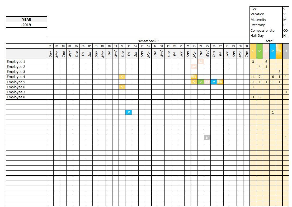 Leave tracker calendar template