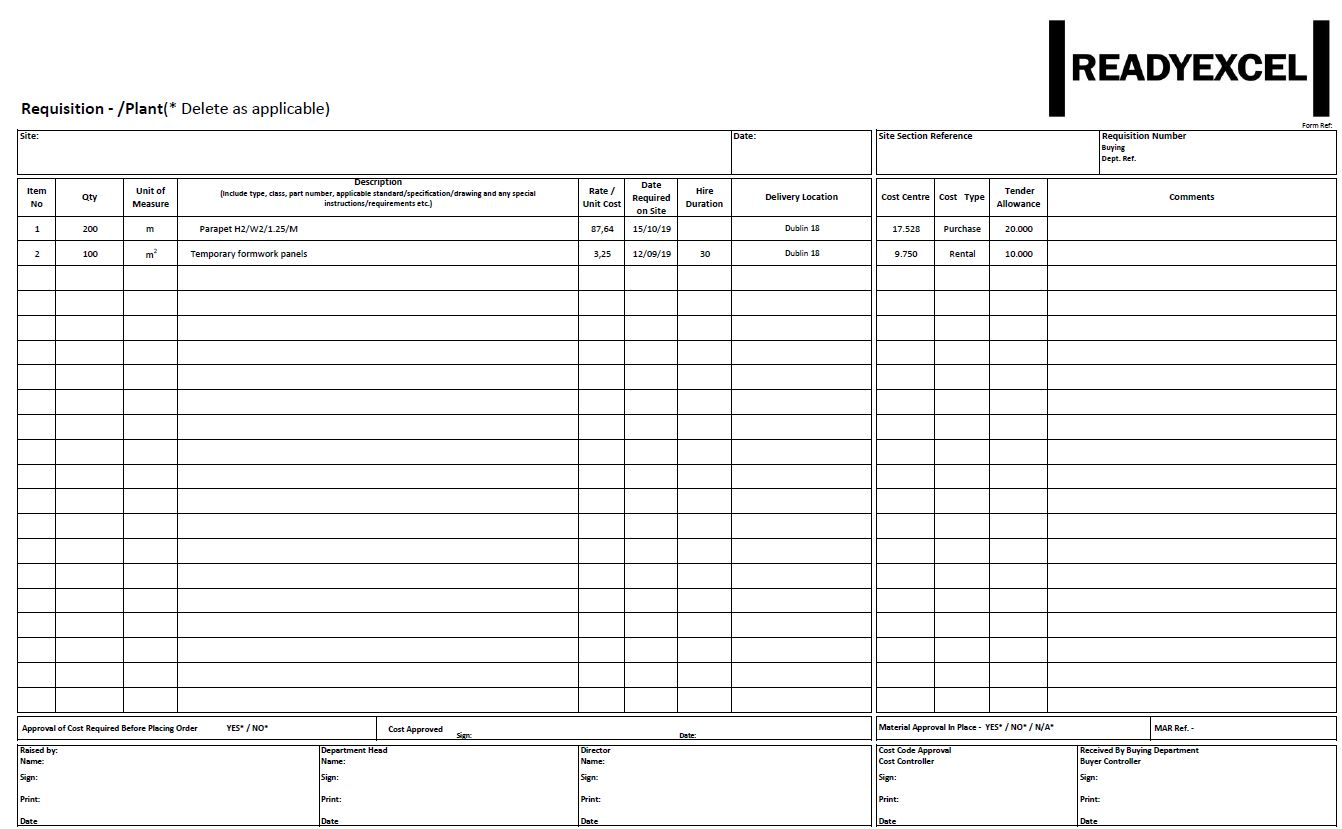 Format requisition excel template