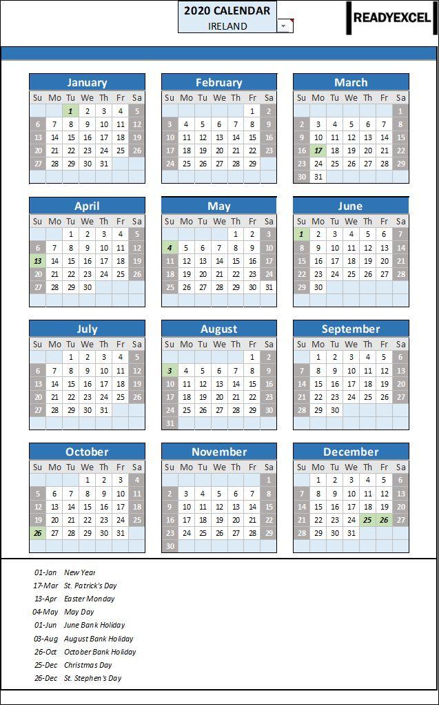 2020 Year Calendar Ireland