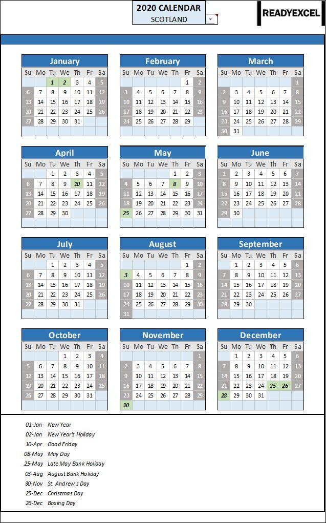2020 Year Calendar Scotland